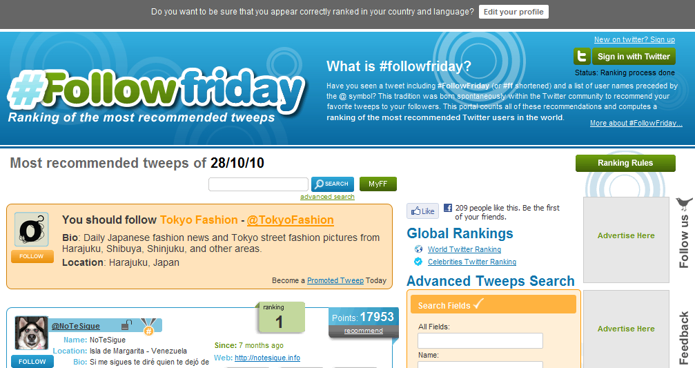 FollowFriday - Twitter's Ranking of the most recommended tweeps