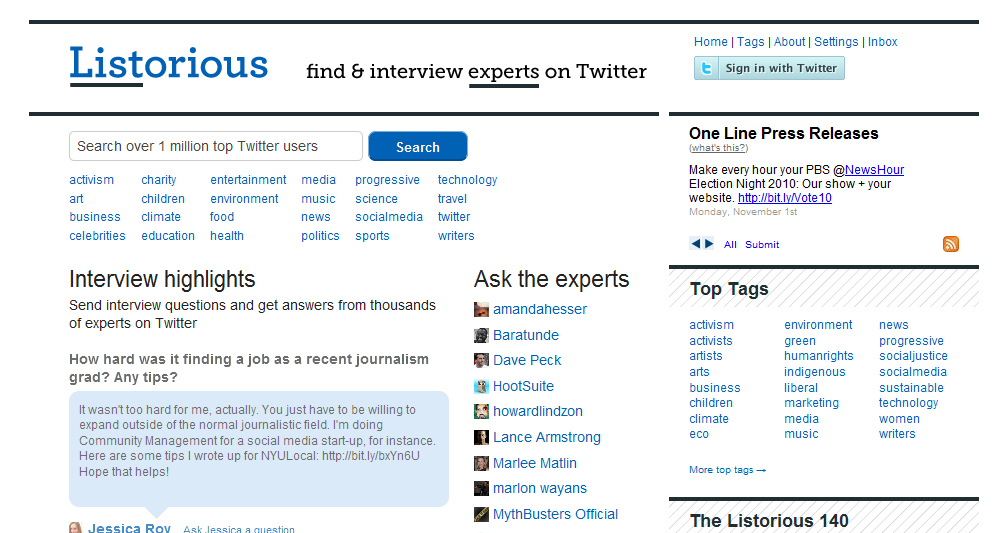 Listorious- Twitter people search and lists directory