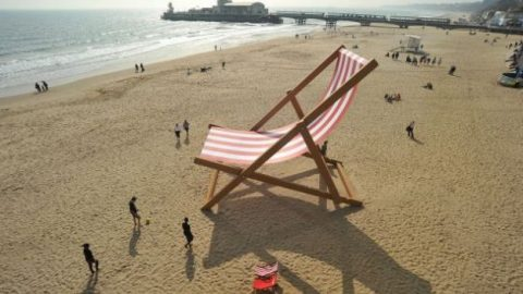 A giant deck chair on Bournemouth beach