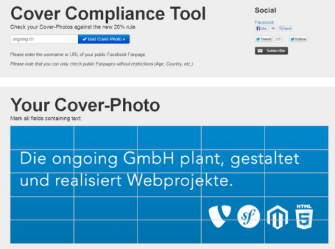 Facebook cover compliance tool: Check your cover-photos against the Facebook 20% rule
