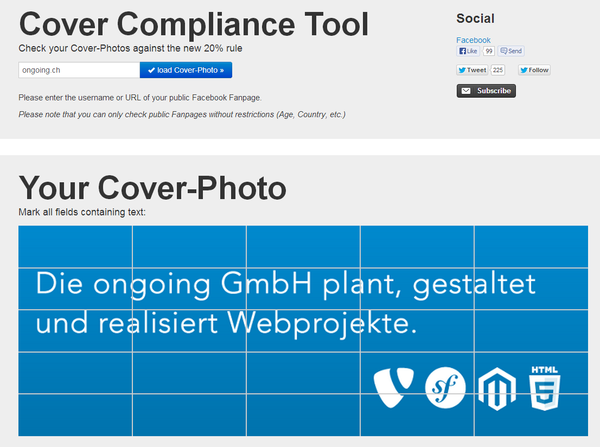 Facebook Cover Compliance tool